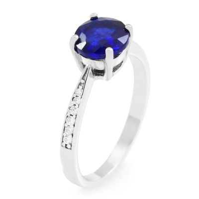 Ladies Gemstone Sterling Silver Blue Sapphire Ring Size P G0091R-SA-P