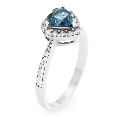 Gemstone Dam London Blue Topaz Heart Cluster Ring Size L Sterlingsilver G0046R-BT-L