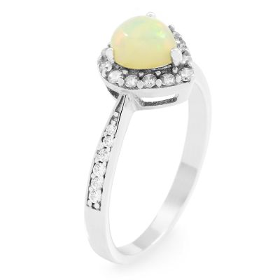 Ladies Gemstone Sterling Silver Ethiopian Opal Heart Cluster Ring Size P G0046R-EO-P