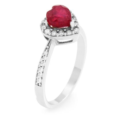 Gemstone Dam Ruby Heart Cluster Ring Size P Sterlingsilver G0046R-RU-P