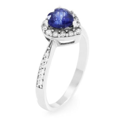 Gemstone Dam Blue Sapphire Heart Cluster Ring Size P Sterlingsilver G0046R-SA-P