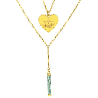 Ladies Juicy Couture Gold Plated Heart Crown Luxe Wishes Necklace WJW78099-712-U