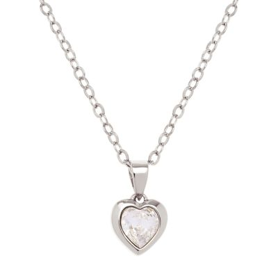 Ladies Ted Baker Silver Plated Crystal Heart Necklace TBJ1681-01-02
