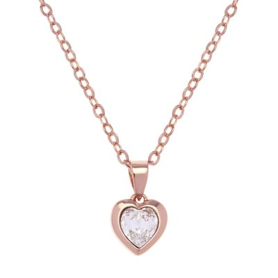 Ladies Ted Baker Rose Gold Plated Crystal Heart Necklace TBJ1681-24-02
