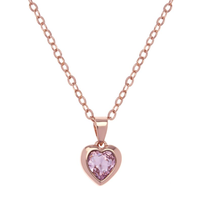Ladies Ted Baker Rose Gold Plated Crystal Heart Necklace TBJ1681-24-226