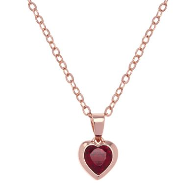 Ladies Ted Baker Rose Gold Plated Crystal Heart Necklace TBJ1681-24-22