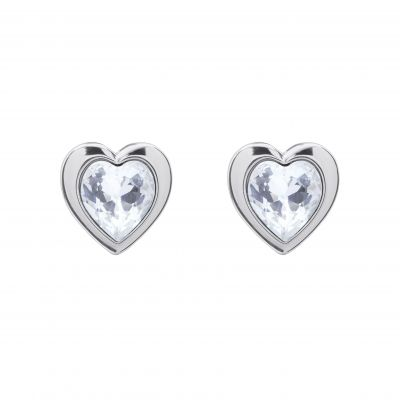 Ladies Ted Baker Silver Plated Crystal Heart Stud Earrings TBJ1654-01-02