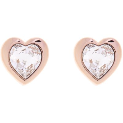 Ladies Ted Baker Rose Gold Plated Crystal Heart Stud Earrings TBJ1654-24-02