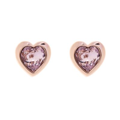 Ladies Ted Baker Rose Gold Plated Crystal Heart Stud Earrings TBJ1654-24-226
