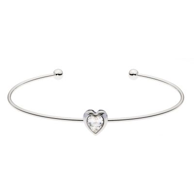Ladies Ted Baker Silver Plated Crystal Heart Ultrafine Cuff Bangle TBJ1682-01-02