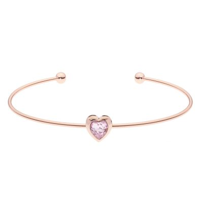 Ladies Ted Baker Rose Gold Plated Crystal Heart Ultrafine Cuff Bangle TBJ1682-24-226