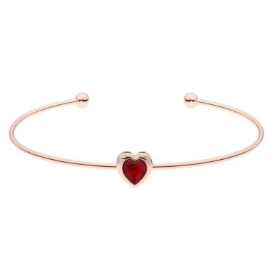 Ladies Ted Baker Rose Gold Plated Crystal Heart Ultrafine Cuff Bangle TBJ1682-24-22