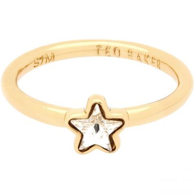 Ladies Ted Baker Gold Plated Crystal Star Ring Size SM TBJ1686-02-02SM