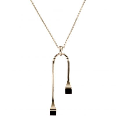 Ladies Karen Millen Gold Plated Geo Cube Necklace KMJ1108-30-05