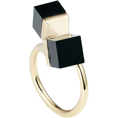 Ladies Karen Millen Gold Plated Geo Cube Ring Size SM KMJ1104-30-05SM