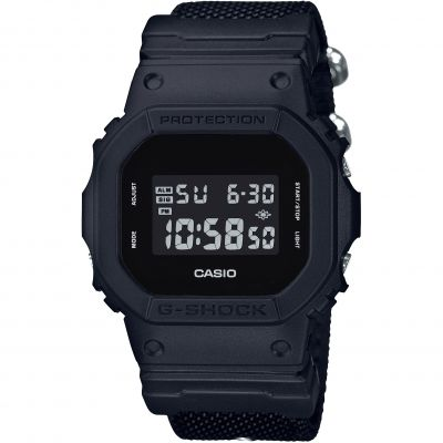 Mens Casio G-Shock Blackout Cloth Series Alarm Chronograph Watch DW-5600BBN-1ER