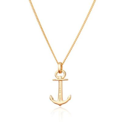 Damen Paul Hewitt Gold Plated Anchor Spirit Halskette Sterling-Silber PH-AN-G
