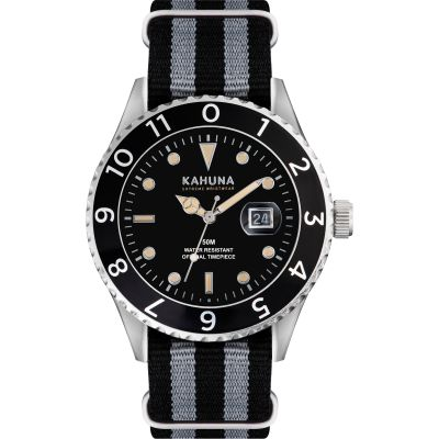 Mens Kahuna Black and Grey Nato Strap Watch KUS-0125G