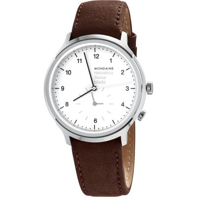 Mondaine Helvetica Regular 2nd Time Zone Herrklocka Brun MH1R2010LG