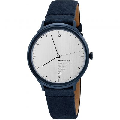 Mondaine Helvetica No1 Light Herrenuhr in Blau MH1L2210LD