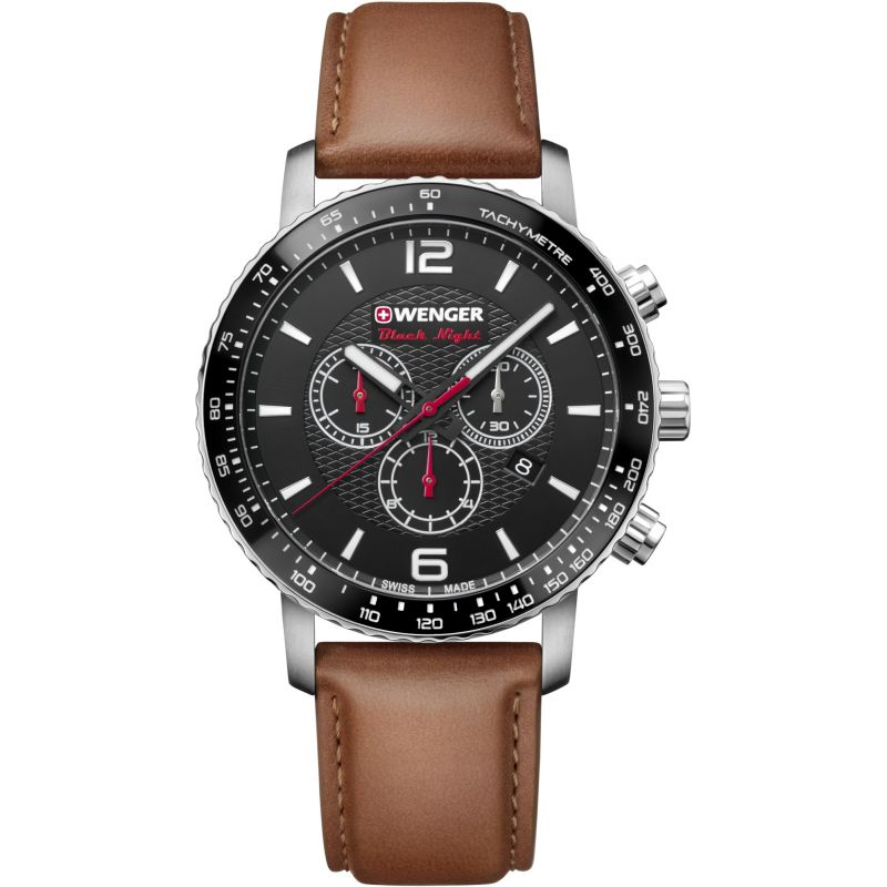Mens Wenger Roadster Black Night Chrono Chronograph Watch 011843104