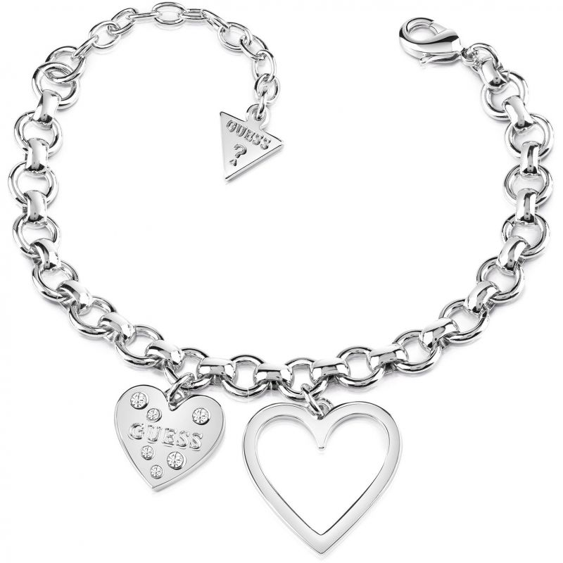 Image of Ladies Guess Silver Plated Heart In Heart Bracelet