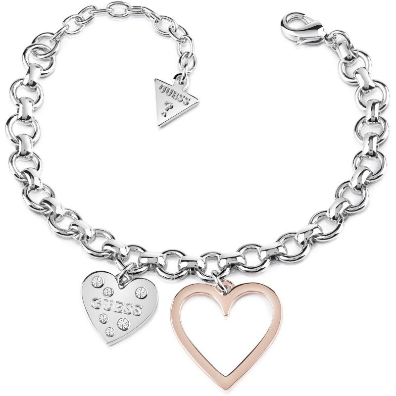 Image of  			   			  			   			  Ladies Guess Two-Tone Steel and Rose Plate Heart In Heart Bracelet