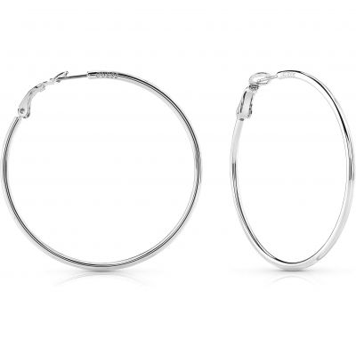 Ladies Guess Hoops I Did It Again Silver Earrings