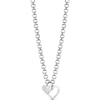 Guess Dames Heart In Heart Necklace Verguld Zilver UBN84012