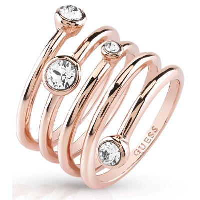 Ladies Guess PVD rose plating Crystal Beauty Ring Size N UBR84057-54