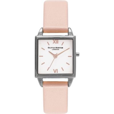 Square Dials Silver & Dusty Pink Watch