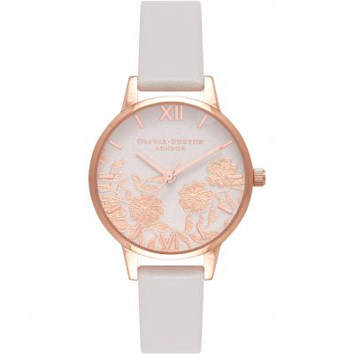 Lace Detail Blush Floral & Rose Gold Watch
