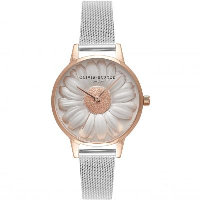 3D Daisy Silver & Rose Gold Mesh  Watch