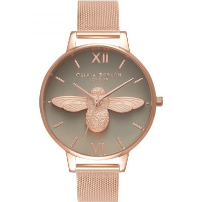 Olivia Burton 3D Bee Rose Gold Mesh Dameshorloge Rose OB16AM117
