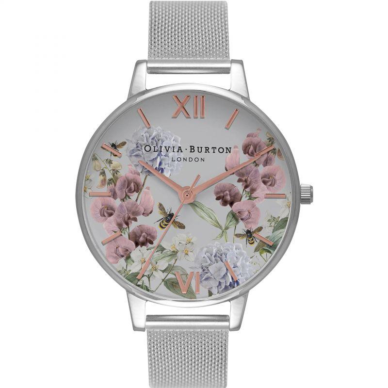 Enchanted Garden Floral  Silver Mesh Watch
