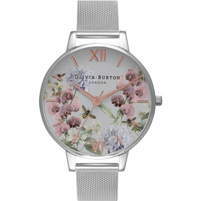 Enchanted Garden Floral  Silver Mesh Watch