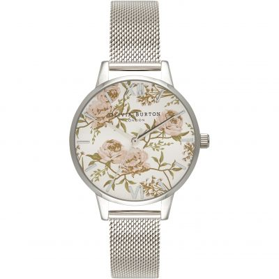 Parlour Floral  Silver Mesh Watch