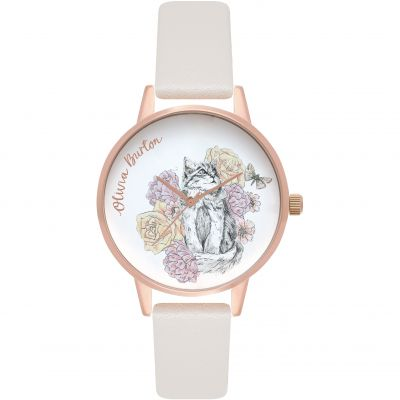 Olivia Burton Animal Motif Blush & Rose Gold Floral Cat Dameshorloge Wit OB16AM120