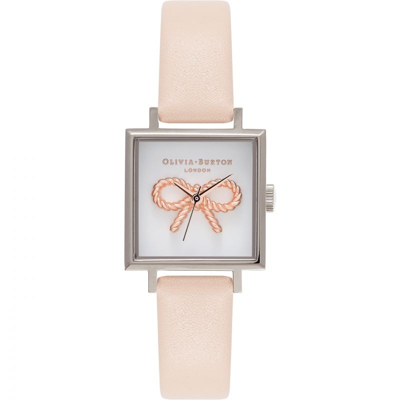 Vintage Bow 3D Midi Square Dial Nude Peach Rose Gold & Silver Watch