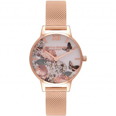 Signature Florals Rose Gold Mesh Watch