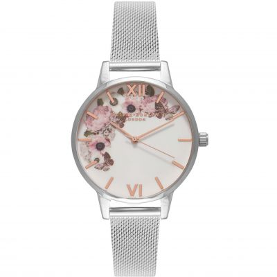 Signature Florals Silver Mesh Watch