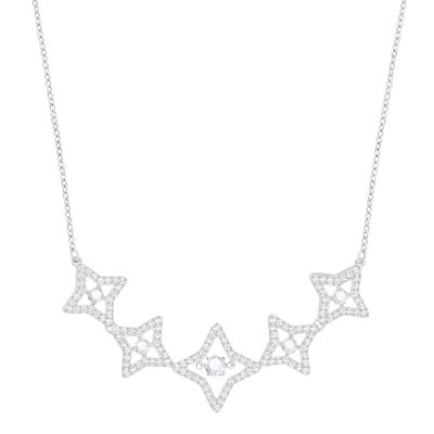 Ladies Swarovski Silver Plated Sparkling Necklace 5349663