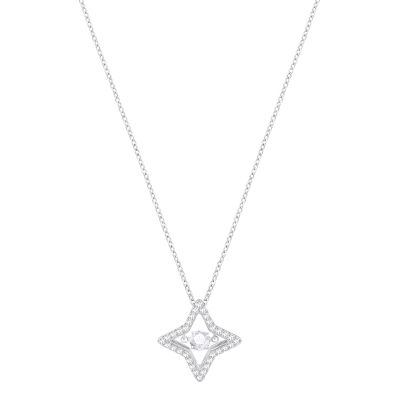 Ladies Swarovski Silver Plated Sparkling Necklace 5349654