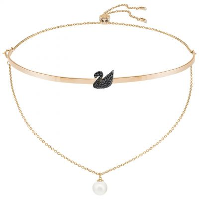 Ladies Swarovski Gold Plated Iconic Swan Necklace 5351807