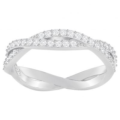 Ladies Swarovski Silver Plated Infinity Ring Size 58 5372929