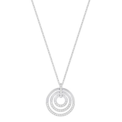 Ladies Swarovski Silver Plated Circle Necklace 5290187