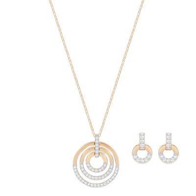 Ladies Swarovski Rose Gold Plated Circle Earring & Necklace Set 5367890