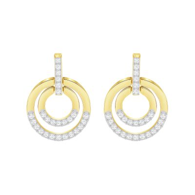 Ladies Swarovski Two-tone steel/gold plate Circle Earrings 5290188