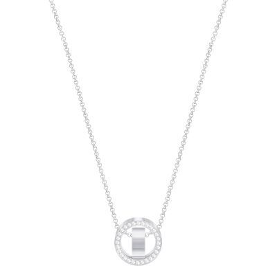 Ladies Swarovski Silver Plated Hollow Necklace 5349348