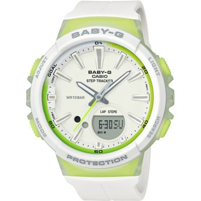 Casio Baby-G Step Counter Damenchronograph in Weiß BGS-100-7A2ER